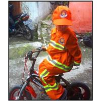 Baju pemadam kebakaran anak warna orange list kuning