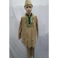Jual Baju Koko Setelan Anak Laki - laki Muslim Lengan Panjang SD SMP - Cokelat Muda, 3-4 tahun