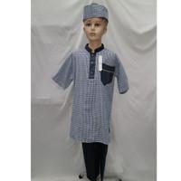Jual Baju Koko Anak Laki - laki Setelan Turki Pakistan Lengan Pendek - Biru, 3-4 tahun