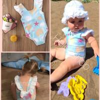 baju renang bayi kerang pita biru 3bln-3thn