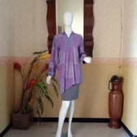 Blouse batik cap premium ungu cantik