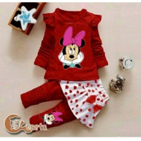KD ST LORINDA MICKEY RED baju anak perempuan set baju umur 3-4 tahun