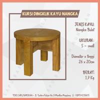 Kursi Bangku Jongkok / Dingklik Kayu Nangka Bulat Ukuran Small
