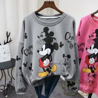 baju hangat kaos sweater casual Miki Mickey mouse cewek wanita kimi