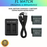 Dual Battery Charger + Baterai GoPro Hero 5 Hero 6 Hero 7 Black Batre
