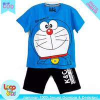 Logokids Baju Setelan Anak Laki-Laki Murah Doraemon Blue 1-10 Tahun