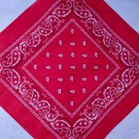 Bandana Motif Paisley - Merah 100% Katun