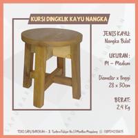 Kursi Bangku Jongkok / Dingklik Kayu Nangka Bulat Ukuran Medium