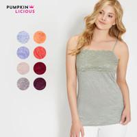 Pumpkin Lace Bodice Tanktop tank top / Inner wanita - Ready Big Size