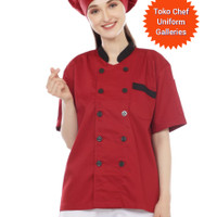 baju chef lengan pendek kombinasi - Maroon, S