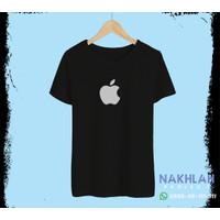 Kaos Distro Murah Apple Logo - Hitam, S