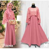 Baju Gamis Wanita Terbaru long dress muslim Tiara plus Cape Brukat