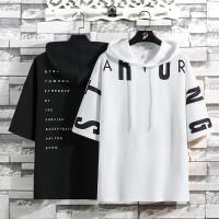 Kaos Hoodie Lengan Pendek Hodie reglan untuk Pria Hiphop T-shirt RL815