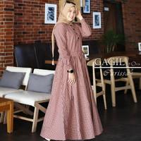 Baju Gamis Syari Wanita Terbaru Parissa Maxy Dress Katun Kotak Motif