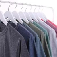 Kaos polos twotone 30s - baju polos lengan panjang pria wanita - Hitam, M