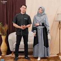 Cp Najwa HITAM/ Baju Muslim Pasangan/Pakaian Muslim Couple ada Hijab