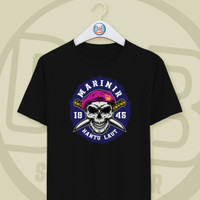 Baju Kaos T-shirt Marinir gambar Tengkorak Hantu Laut O Neck