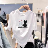 t shirt distro kaos oblong wanita pria unlined katun motif kucing