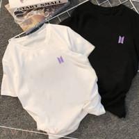 Kaos T-shirt BTS Logo Purple