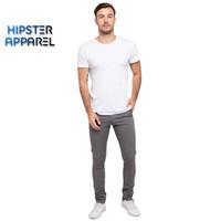 Hipster celana chino panjang warna abu/grey
