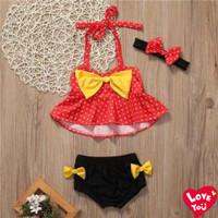Baju Renang Bayi Anak Perempuan Bikini Polkadot 3in1
