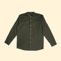 Kemeja Koko Lengan Panjang Monochrome Olive Plain Shanghai Shirt