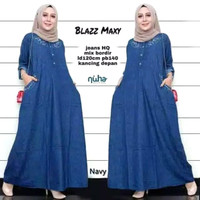 Baju gamis blazz maxy wanita muslim All size bahan Jeans HQ terbaru