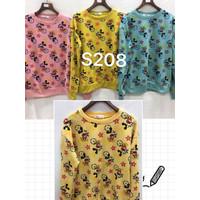 Oversized Sweater Long Slv Import Murah Wanita / Motif Mickey LVV Star - Biru, all size