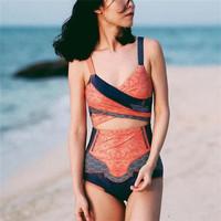 Aztec in Red-orange Monokini - Baju Renang Wanita