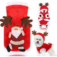 Kostum baju natal anjing kucing kostum santa claus pet bahan premium 2