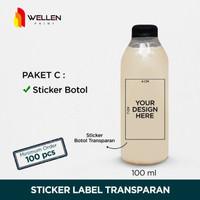Sticker botol minuman transparant sticker label kopi transparan
