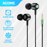 ACOME Wired Earphone Headset In-Ear Color Super Bass Headphone AW02 - Black Green