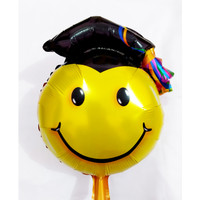 Balon Foil Mini Wisuda Graduation | Balon Lulus Sidang Jubah Smiley - Smiley