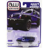 Diecast Auto World 1/64 2018 Jeep Wrangler Unlimited Dark Blue Purple