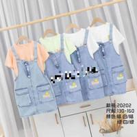 over all anak perempuan jeans impor usia 7-11 tahun/baju overall anak