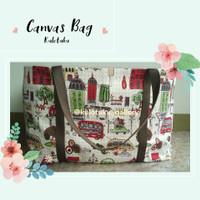 Tas Belanja Kanvas Besar / Tote Bag Kanvas Motif Rumah Mini