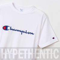 Champion Men Heritage Script Logo Tee White Original / Baju Kaos Pria