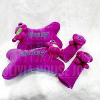 Car Pillow Set Barney Ungu Sabuk Pengaman Bantal Mobil Barney Dino