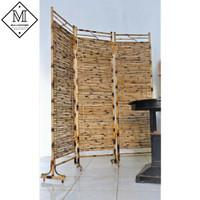 Partisi Pembatas Ruangan/Sketsel Bambu Cendani Antik 3 Lipat