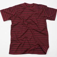 Kaos Garis Lengan Pendek Merah Stripes Unisex Premium Quality