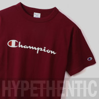 Champion Heritage Script Logo T-shirt Maroon Original / Red Kaos Merah