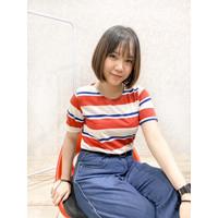 VDL CLOTH original kaos wanita salur/ BAJU perempuan kaos abg korea - merah biru