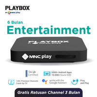 MNC Play - PlayBox Android TV Box + Bundling Entertainment Free 6 Bln
