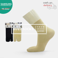 Stocking kaos kaki jempol anti slip pendek semata kaki cream hitam