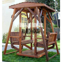 Ayunan kursi dua sisi kursi taman minimalis kayu jati solid