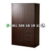 lemari pakaian kayu jati 2 pintu mewah