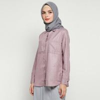 Kemeja Wanita Polos Basic - Emikoawa Atasan Wanita Muslim Korea Busui - Dusty Pink, LD 100