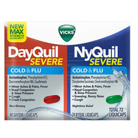 Vicks Severe DayQuil and NyQuil Cough, Cold & Flu Relief, 72 LiquiCaps