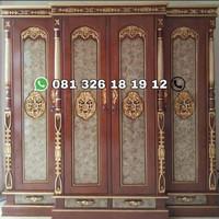 lemari pakaian kayu jati 4 pintu mewah