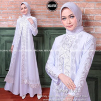 baju gamis putih wanita muslim real pict-turkey 1021